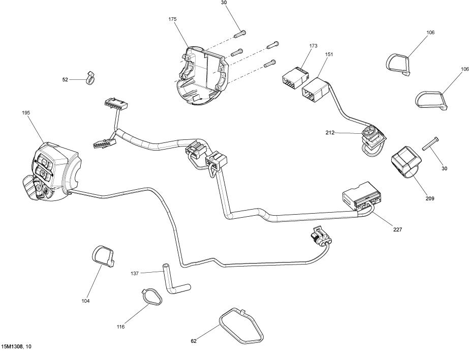 2013 ski doo renegade adrenaline 600hoe steering wiring harness parts