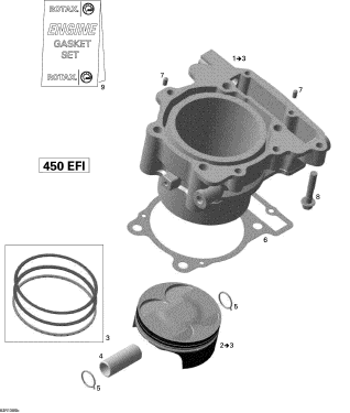2013 Can-Am DS 450 EFI Xmx Cylinder And Piston Ass'y. Includes 1 to 3 | Part number 420623826