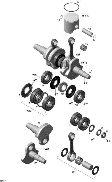 2008 MX-Z Adrenaline 800R Crankshaft Assembly Includ